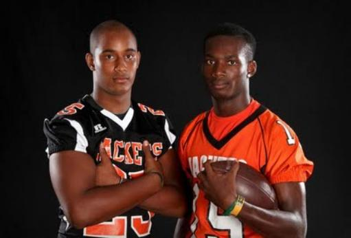 Noor Davis and D'Mauri Jones at the third annual Sentinel Varsity Football Media Day.Photo courtesy of the Orlando Sentinel. Leesburg High School, 1401 Yellow Jacket Way, Leesburg, Florida 34748, Gerald Lacey, Staff Writer, Carver Heights Quarterback Club