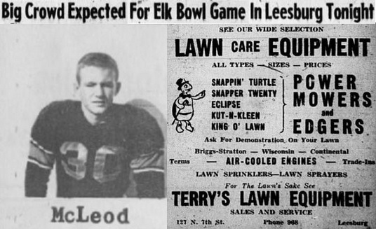 1956 Leesburg Yellow Jackets Football Archives, Robert McLeod Varsity Jackets Team MemberBig Crowd Expected For Elk Bowl Game In Leesburg Tonight, November 30, 1956, Carver Heights Quarterback Club, Leesburg High School, Leesburg, Florida.