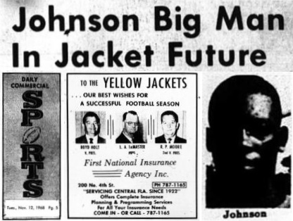 1968 Leesburg Yellow Jackets Football Archives, '68 Varsity Jackets Team Member Greg JohnsonJohnson Big Man In Jacket Future, Sunday, November 12, 1968, Carver Heights Quarterback Club, Leesburg High School, Leesburg, Florida.