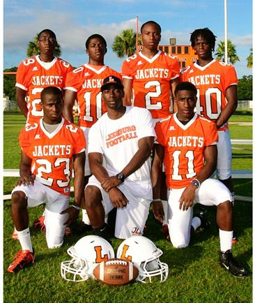 2013 Leesburg Yellow Jackets Football Archives, 2013 Vasity Football Team Secondary#23 Bryant Benton, Secondary Coach Whisley Laurent, #11 Arkee Brown, #29 Alex Blackmore, 10 Cameron Westmoreland, #2 Bryan Jefferson and #40 Tylan Robinson. Leesburg High School, Leesburg, Florida
