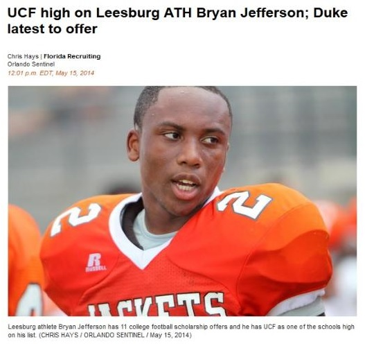 2014 Leesburg Yellow Jackets Football Archives, Leesburg athlete Bryan Jefferson has 11 college football scholarship offers and he has UCF as one of the schools high on his list. (CHRIS HAYS/ORLANDO SENTINEL/May 15, 2014), Carver Heights Quarterback Club, Leesburg High School, Leesburg, Florida