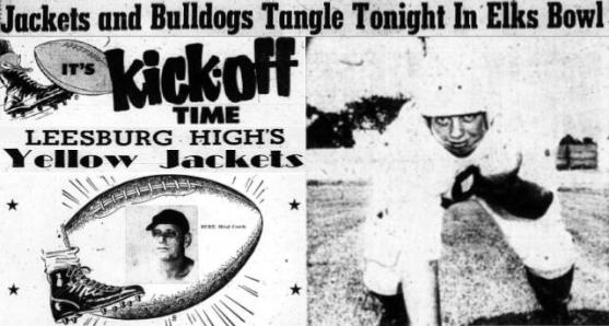 1954 Leesburg Yellow Jackets Football Archives, 1954 Varsity Football Team Member Bob Moody and Head Coach Earl BurtJackets And Bulldogs Tangle Tonight In Elks Bowl, Monday, December 3, 1954, Leesburg High School, Leesburg, Florida
