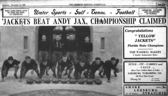 Page 17, 1928 Leesburg Yellow Jackets Football Archives, Jackets Beat Andy Jax, Championship Claimed, December 13, 1928, Carver Heights Quarterback Club, Leesburg High School, Leesburg, Florida