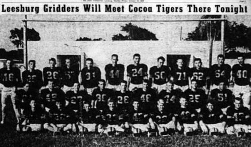 Page 2, 1956 Leesburg Yellow Jackets Football Archives, Leesburg Gridders Will Meet Cocoa Tigers There Tonight, October 19, 1956, Carver Heights Quarterback Club, Leesburg High School, Leesburg, Florida