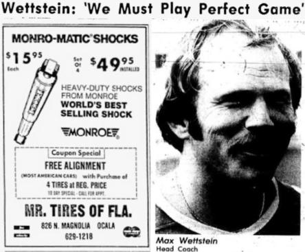 1976 Leesburg Yellow Jackets Football Archives, 1976 Varsity Football Head Coach Max Wettstein, Wettstein: 'We Must Play Perfect Game', Thursday, November 11, 1976, Carver Heights Quarterback Club, Leesburg High School, Leesburg, Florida