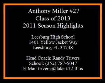 Anthony Miller 2011 Season Highlights