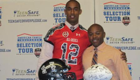 2011 Under Armour All-American Noor Davis and Leesburg Head Coach Randy Trivers, Leesburg High School, 1401 Yellow Jacket Way, Leesburg, Florida 34748, Gerald Lacey, Staff Writer, Carver Heights Quarterback Club