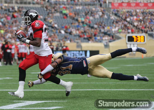 Jackets In The Pros Archives, (34) Tory Harrison, Calgary Stampeders, Calgary Stampeders vs. Winnipeg Blue Bombers, Saturday, August 30, 2015 (Photo courtesy of David Moll) Carver Heights Quarterback Club, Leesburg High School, Leesburg, Florida