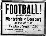 Montverde vs. Leesburg High School Football Game At Cooke Park Ad. Friday, September 23, 1927, The Leesburg Morning Commercial.