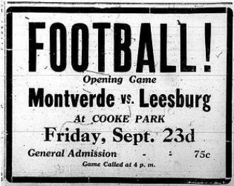 1927 Leesburg Yellow Jackets Football Archives, Leesburg vs Montverde, Friday, September 23, 1927, Leesburg High School, Leesburg Florida