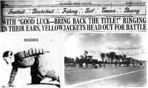 1927 Leesburg Yellow Jackets Varsity Football Team Member Roller Moore on the Left and Fleming Field at the University of Florida on the right. Leesburg High School, Leesburg Florida