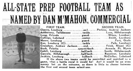 1928 Leesburg Yellow Jackets Football Archives, Spurgeon Cherry, End, LeesburgThe Leesburg Morning Commercial 1928 All-State Prep Football Team, Carver Heights Quarterback Club, Leesburg High School, Leesburg, Florida