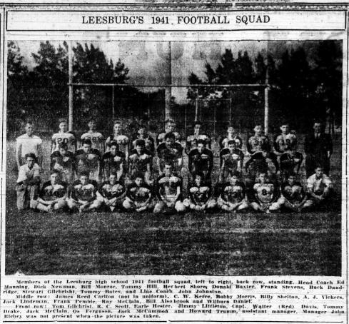 1941 Leesburg Yellow Jackets Football Archives, 1941 Varsity Football Team, Leesburg High School, Leesburg, Florida