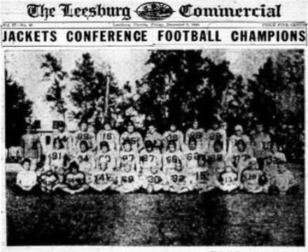 James Carlton, End, 1944 Varsity Football Team, 1944 East Central Florida Conference Champion, Leesburg High School, Leesburg, Florida