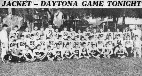 1945 Leesburg Yellow Jackets Football Archives, Leesburg vs. Daytona Beach Seabreeze Football Game1945 Jackets Varsity Football TeamJackets Downed 19-0 By Scrappy Seabreeze Team, Friday, October 26, 1945, Leesburg High School, Leesburg Florida