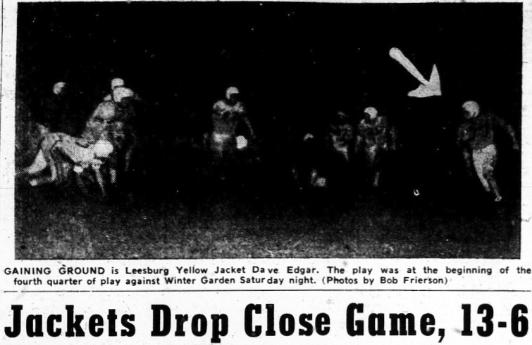 1952 Leesburg Yellow Jackets Football Archives, Leesburg vs Winter Garden Lakeview, Jackets Drop Close Game, 13-6, Thursday, October 23, 1952, Leesburg High School, Leesburg, Florida.