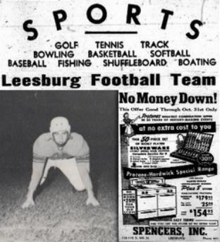 1953 Leesburg Yellow Jackets Football Archives, Varsity Football Team Member Bobby Peppers, Balls, Bats, Baskets, Wednesday, October 21, 1953, Leesburg High School, Leesburg, Florida