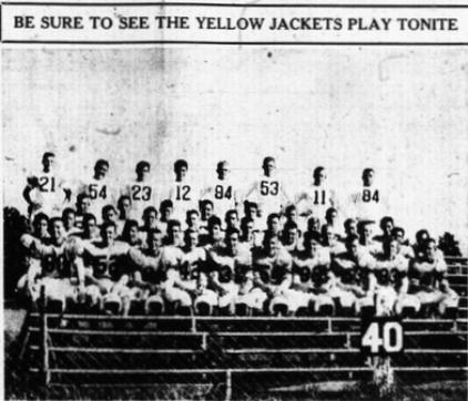 1954 Leesburg Yellow Jackets Football Archives, THE YELLOW JACKETS are in great shape for their game against strong-rated Apopka tonight at 8 o'clock at Leesburg Memorial Field. Friday, September 24, 1954. (Staff Photo The Leesburg Commercial-Ledger), Carver Heights Quarterback Club, Leesburg High School, Leesburg, Florida.