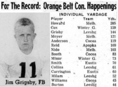 1954 Leesburg Yellow Jackets Football Archives, 1954 Varsity Football Team Member Jim Grigsby, FBFor The Record Orange Belt Con. Happenings, Thursday, October 14, 1954, Leesburg High School, Leesburg, Florida