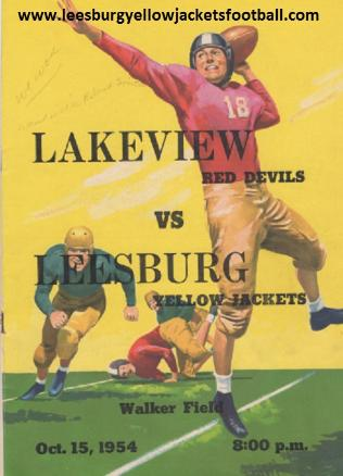 Winter Garden Lakeview vs. Leesburg High Football Game Program, 1954 Leesburg Yellow Jackets Football Archives, Leesburg High School, Leesburg Florida