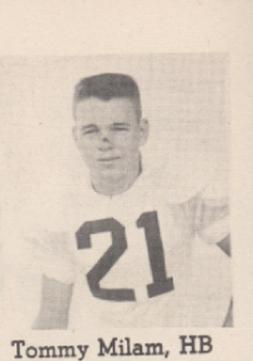 Tommy Milam 1954 Leesburg Yellow Jackets Varsity Football Team, Leesburg High School, 1401 Yellow Jacket Way, Leesburg, Florida 34748, Gerald Lacey, Staff Writer, Carver Heights Quarterback Club