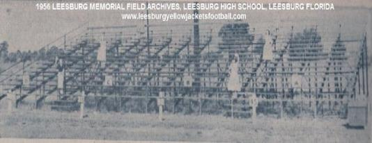 1956 Leesburg Yellow Jackets Football Archives, NEW STEEL BLEACHERS at the high school field are a Dads' Club project. Usherettes shown here are Betty Chism, Barbara Mattox, Shirley Parker, Eddie B. Fletcher, Jean Spradlin and Frances Collins (Photo by Teese). Leesburg High School, Leesburg Florida