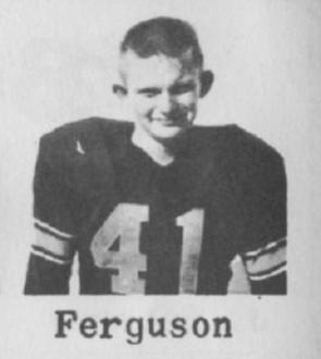 KEN FERGUSON, Freshmen, Guard, 165, 5-7, Black Jersey 41, White Jersey 31, 1956 Leesburg Yellow Jackets Varsity Football Team,  Leesburg High School, 1401 Yellow Jacket Way, Leesburg, Florida 34748, LEESBURG HIGH SCHOOL, 1401 YELLOW JACKET WAY, LEESBURG, FLORIDA 34748, Gerald Lacey, Staff Writer, Carver Heights Quarterback Club