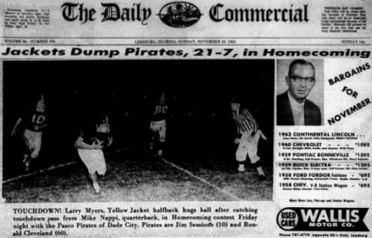 1963 Leesburg Yellow Jackets Football Archives, Jackets Dump Pirates, 21-7 In Homecoming, Sunday, November 10, 1963, Carver Heights Quarterback Club, Leesburg High School, Leesburg, Florida