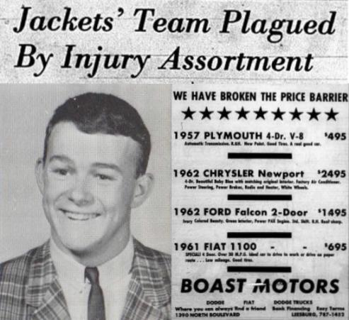 1963 Leesburg Yellow Jackets Football Archives, '63 Varsity Football Team Member Bobby Franklin Jackets Team Plagued By Injury Assortment, Wednesday, November 6, 1963, The Daily Commercial, Carver Heights Quarterback Club, Leesburg High School, Leesburg, Florida