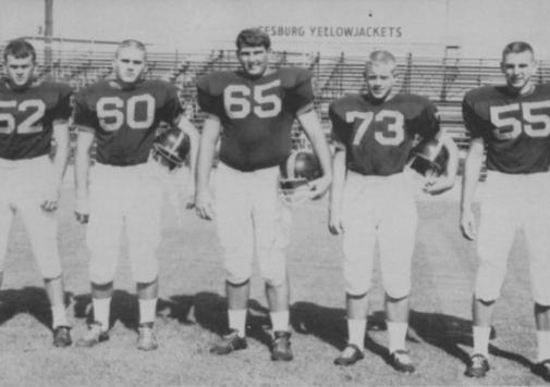 Members of the 1963 Leesburg High School Yellow Jackets Varsity Football TeamL to R: Bob Franklin, Perry Bennett, Tony Cinicola, Herb Young, Joe Warren
