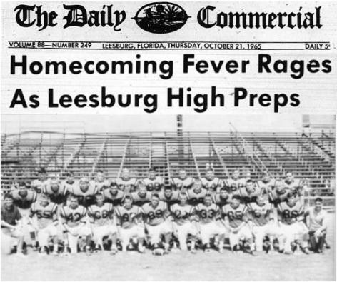 2014 Leesburg Yellow Jackets Football Archives, '65 Varsity Football Team, Homecoming Fever Rages As Leesburg High Preps, Page 2, Thursday, October 21, 1965, Carver Heights Quarterback Club, Leesburg High School, Leesburg, Florida