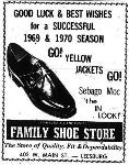 1969 Leesburg Yellow Jackets Football Archives, 1969 Jackets Supporter Family Shoe Store, 403. W. Main St., Leesburg,  Florida,  Leesburg High School, 1401 Yellow Jacket Way, Leesburg, Florida 34748, Gerald Lacey, Staff Writer, Carver Heights Quarterback Club