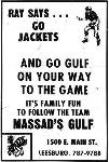 1969 Leesburg Yellow Jackets Football Archives 1969 Jackets Supporter Massad's Gulf Ad, Leesburg High School, Leesburg Florida, Leesburg High School, 1401 Yellow Jacket Way, Leesburg, Florida 34748, Gerald Lacey, Staff Writer, Carver Heights Quarterback Club