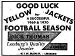 1969 Leesburg Yellow Jackets Football Archives, 1969 Jackets Supporter Dick Thomas Jeweler, Leesburg High School, 1401 Yellow Jacket Way, Leesburg, Florida 34748, Gerald Lacey, Staff Writer, Carver Heights Quarterback Club