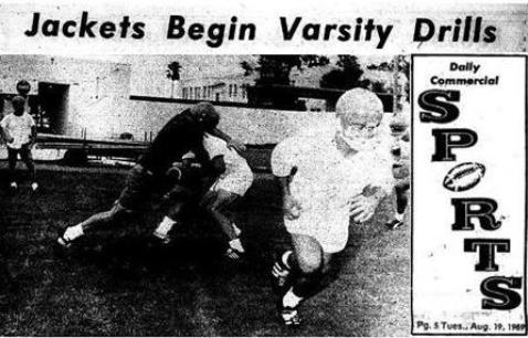 1969 Leesburg Yellow Jackets Varsity Football Team Archives, WATCH THE BALL - Its not easy when the Yellow Jackets buckle down to some hard ball handling. Practice for the fall began Monday for the LHS team. Staff Photo, Daily Commercial, Leesburg High School, Leesburg Florida