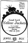 1969 Leesburg Yellow Jackets Football Archives, Good Luck Yellow Jackets for a successful Football Season During 1969 & 19701969 Jackets Supporter Jewel Box, 600 West Main Street, Leesburg Florida,