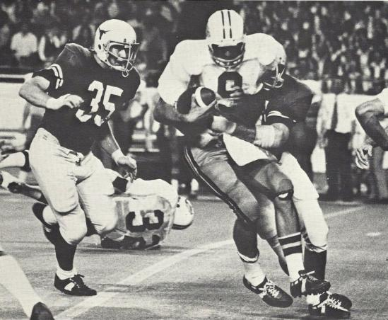 1973 Jackets In College Football Archives, Andy Carlton, Wake Forest UniversityLB Wade Johnston #35 of Texas approaches QB Andy Carlton of Wake Forest, October 6, 1973, Leesburg High School, Leesburg Florida