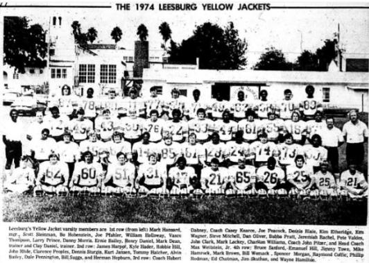 1974 Leesburg High School Varsity Football Schedule, Carver Heights Quarterback Club, Leesburg High School, Leesburg, Florida.