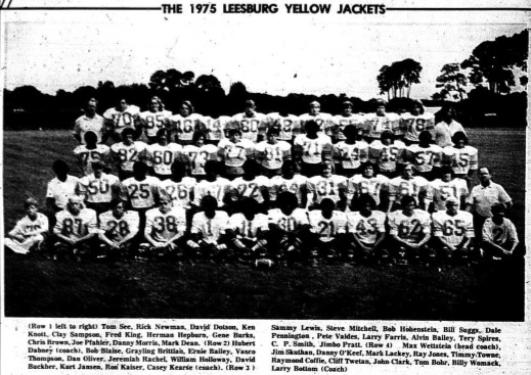 1975 Leesburg Yellow Jackets Football Archives, 1975 Varsity Football Team Schedule, Carver Heights Quarterback Club, Leesburg High School, Leesburg, Florida