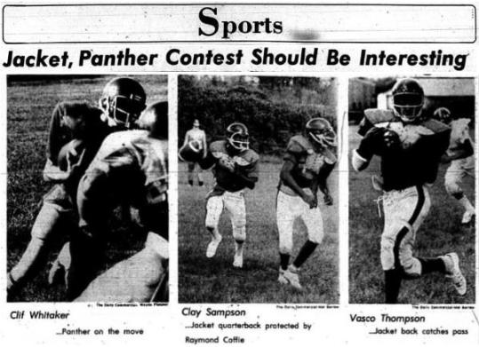 1976 Leesburg Yellow Jackets Football Archives, Eustis Panthers Cliff Whitaker, Leesburg quarterback Clay Sampson and Leesburg running back Vasco Thompson, Jacket, Panther Contest Should Be Interesting, Wednesday, September 8, 1976.Carver Heights Quarterback Club, Leesburg High School, Leesburg, Florida.