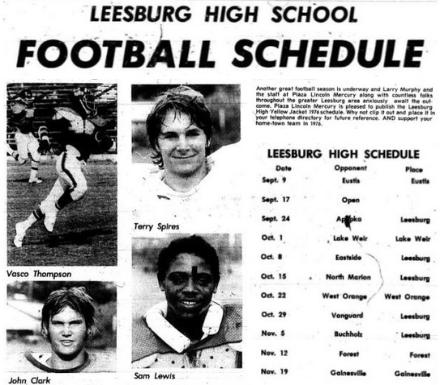 1976 Leesburg Yellow Jackets Football Archives, 1976 Varsity Football Team Schedule, Varsity Team Members Vasco Thompson, Terry Spires, John Clark and Sam Lewis, Carver Heights Quarterback Club, Leesburg High School, Leesburg, Florida