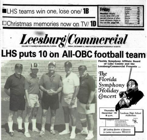 1986 Leesburg Yellow Jackets Football Archives, '86 Varsity Football Team Coaching Staff, LHS Puts 10 On All-OBC Football Team, Dec. 12, 1986, Carver Heights Quarterback Club, Leesburg High School, Leesburg, Florida.
