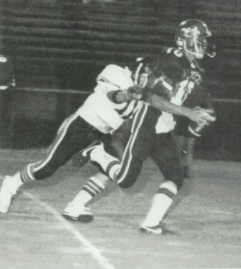 1987 Leesburg Yellow Jackets Football Archives, #10 David Fischer tries to outrun a defender during a game in 1987. Carver Heights Quarterback Club, Leesburg High School, Leesburg Florida