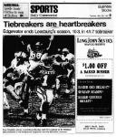Oran Singleton scores a touchdown Monday night for Leesburg as the Bo Widmann (88) celebrates in the background. Edgewater won the tiebreaker however. November 25, 1991, Carver Heights Quarterback Club, Leesburg High School, Leesburg, Florida.