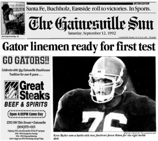 1992 Jackets In College Football Archives, #76 Ryan Taylor, University of FloridaGator Linemen Ready For First Test, Saturday, September 12, 1992, The Gainesville Sun, Carver Heights Quarterback Club, Leesburg High School, Leesburg, Florida