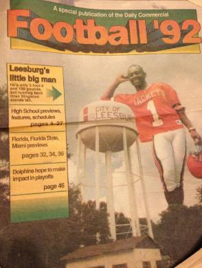 1992 Leesburg Yellow Jackets Varsity Football Team Member#1 Oran Singleton, TB, Leesburg High School All-Time Leading Rusher