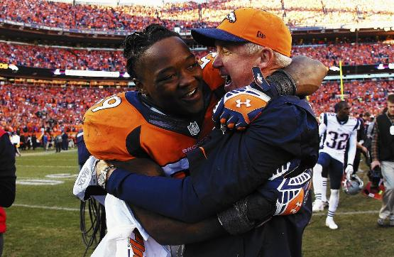 Jackets In The Pros: #59 Danny Trevathan, Denver Broncos, Danny Trevathan of the Denver Broncos celebrates with head coach John Fox. (Justin Edmonds, Getty Images), Carver Heights Quarterback Club, Leesburg High School, Leesburg, Florida
