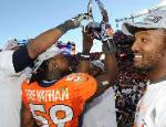 Jackets In The Pros: #59 Danny Trevathan, Denver Broncos, Super Bowl Bound - Former Leesburg High School Standout Danny Trevathan and his Denver Broncos Teammates hold up the Lamar Hunt Trophy after defeating the New England Patriots 26-16 in the AFC Championship Game. With the win Trevathan became the first player in the 90 year history of Leesburg High School football to earn a Super Bowl appearance. (Denver Broncos), Carver Heights Quarterback Club, Leesburg High School, Leesburg, Florida