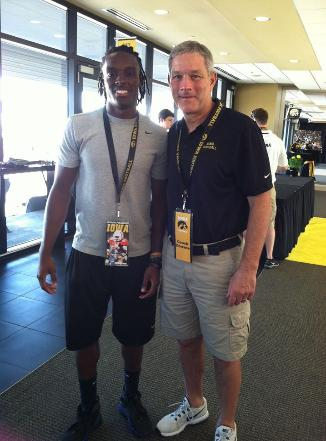 2014 Jackets In College Football Archives, Page 2, Adrian Falconer (L) and University of Iowa Head Coach Kirk Ferentz (R)(Photo courtesy of Adrian Falconer and Family), Carver Heights Quarterback Club, Leesburg High School, Leesburg, Florida