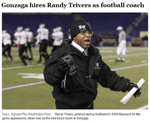 Gonzaga hires Randy Trivers as football coach, Page 1, May 23, 2014, Leesburg High School, 1401 Yellow Jacket Way, Leesburg, Florida 34748, Gerald Lacey, Staff Writer, Carver Heights Quarterback Club
